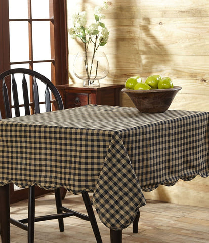 Black Check Rectangle Tablecloth - Retro Barn Country Linens - 1