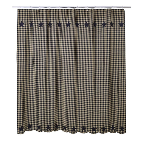 Black Star Shower Curtain - Retro Barn Country Linens - 1