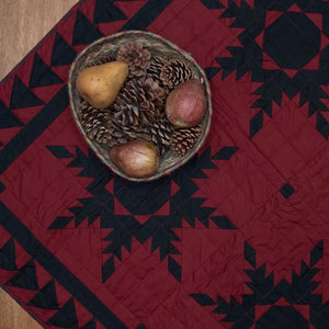 Black Feathered Star Mini Quilt - Table Topper/ Wall Hanging