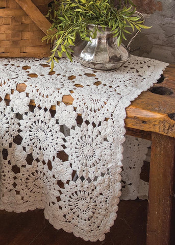 Blue Ribbon Crochet Runner - Retro Barn Country Linens - 1