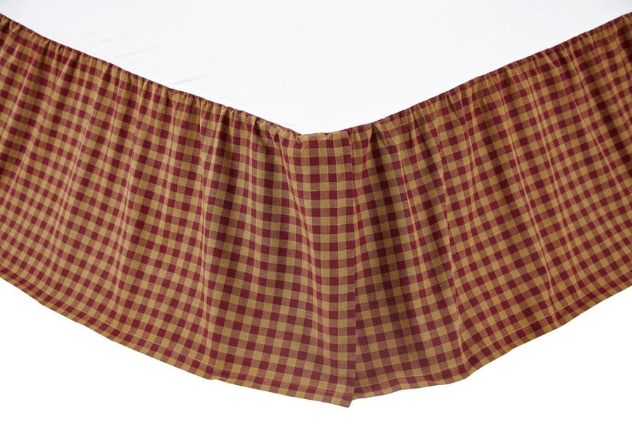 Burgundy Check Bedskirt 16""