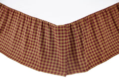 "Burgundy Check Bedskirt 16"" - Retro Barn Country Linens"