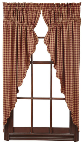 Burgundy Check Prairie Curtain - Retro Barn Country Linens - 1