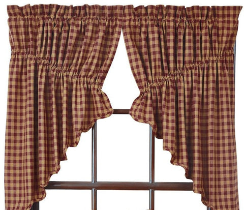 Burgundy Check Prairie Swag - Retro Barn Country Linens - 1