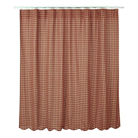 Burgundy Check Shower Curtain - Retro Barn Country Linens - 1