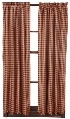 "Burgundy Check 63"" Panel Set - Retro Barn Country Linens - 1"