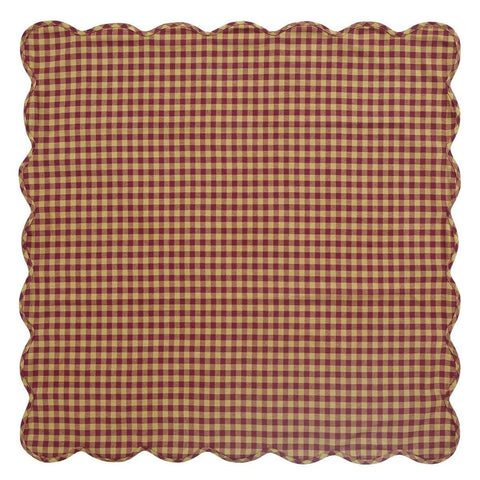 Burgundy Check Square Tablecloth - Retro Barn Country Linens - 1