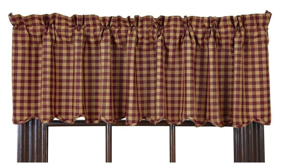 Burgundy Check Valance