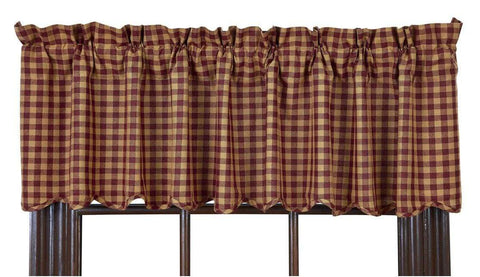 Burgundy Check Valance - Retro Barn Country Linens - 1