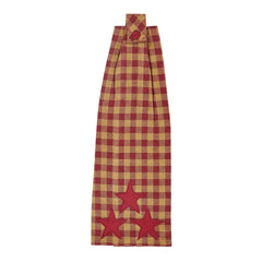 Burgundy Star Button Loop Kitchen Towel - Retro Barn Country Linens