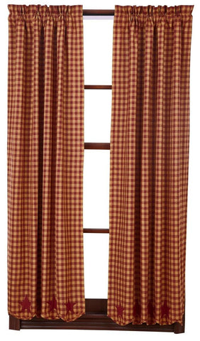 "Burgundy Star 63"" Panel Set - Retro Barn Country Linens - 1"