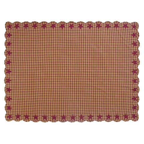 Burgundy Star Rectangle Tablecloth - Retro Barn Country Linens - 2