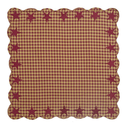 Burgundy Star Square Tablecloth - Retro Barn Country Linens - 2