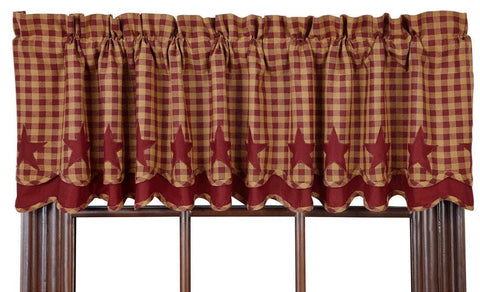 Burgundy Star Layered Valance - Retro Barn Country Linens