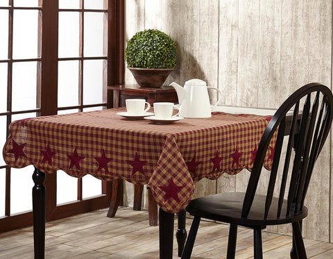 Burgundy Star Square Tablecloth - Retro Barn Country Linens - 1