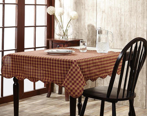Burgundy Check Round Tablecloth