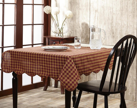 Burgundy Check Rectangle Tablecloth - Retro Barn Country Linens - 1