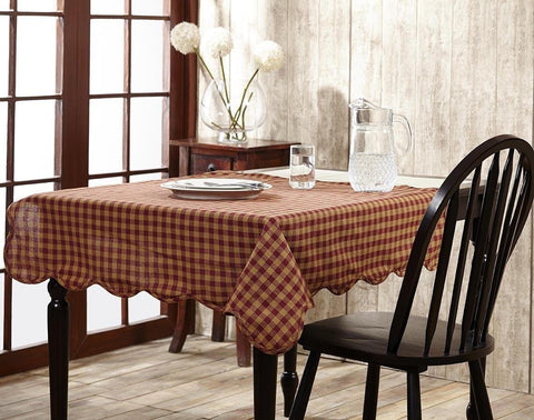 Burgundy Check Round Tablecloth - Retro Barn Country Linens - 2