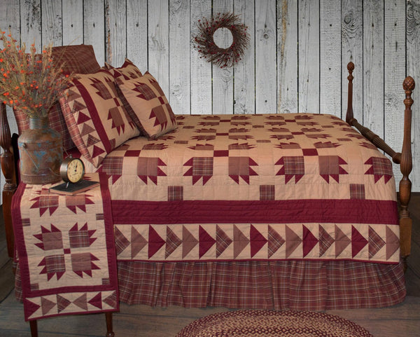 Burgundy Bear S Paw Quilt Retro Barn Country Linens