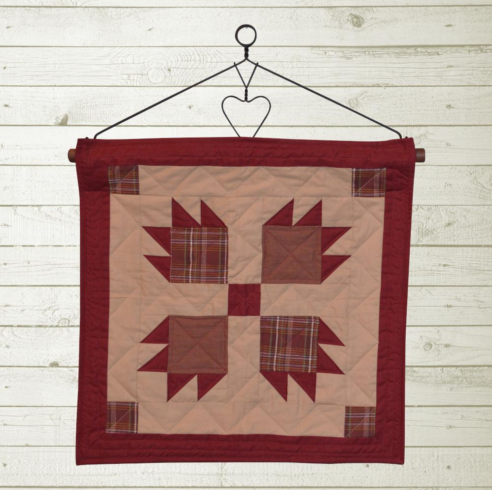 Burgundy Bear's Paw Quilt Block