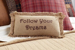 Burlap Natural Pillow Follow Your Dreams - Retro Barn Country Linens