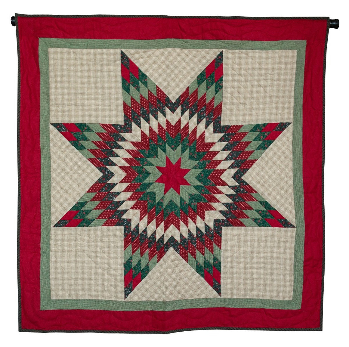 Christmas Lone Star Mini Quilt - Table Topper/ Wall Hanging