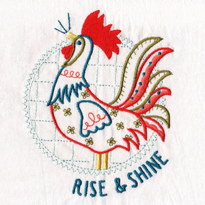 Rise and Shine Embroidered Tea Towel