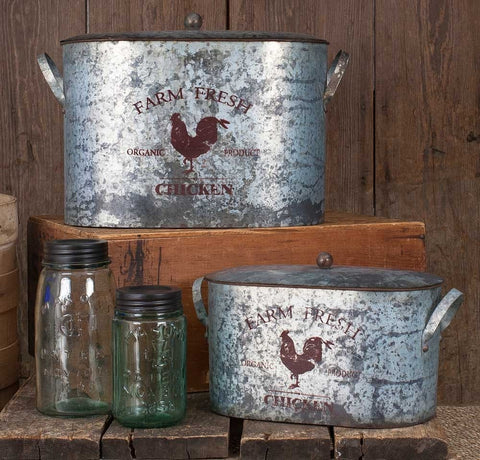 Farm Fresh Metal Bins with Lids - Set of 2 - Retro Barn Country Linens