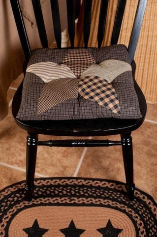 Farmhouse Star Quilted Chair Pad - Retro Barn Country Linens