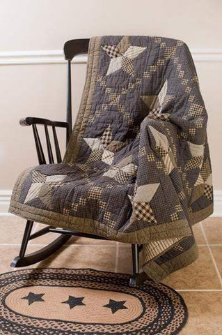 Farmhouse Star Quilted Throw / Wallhanging - Retro Barn Country Linens - 1