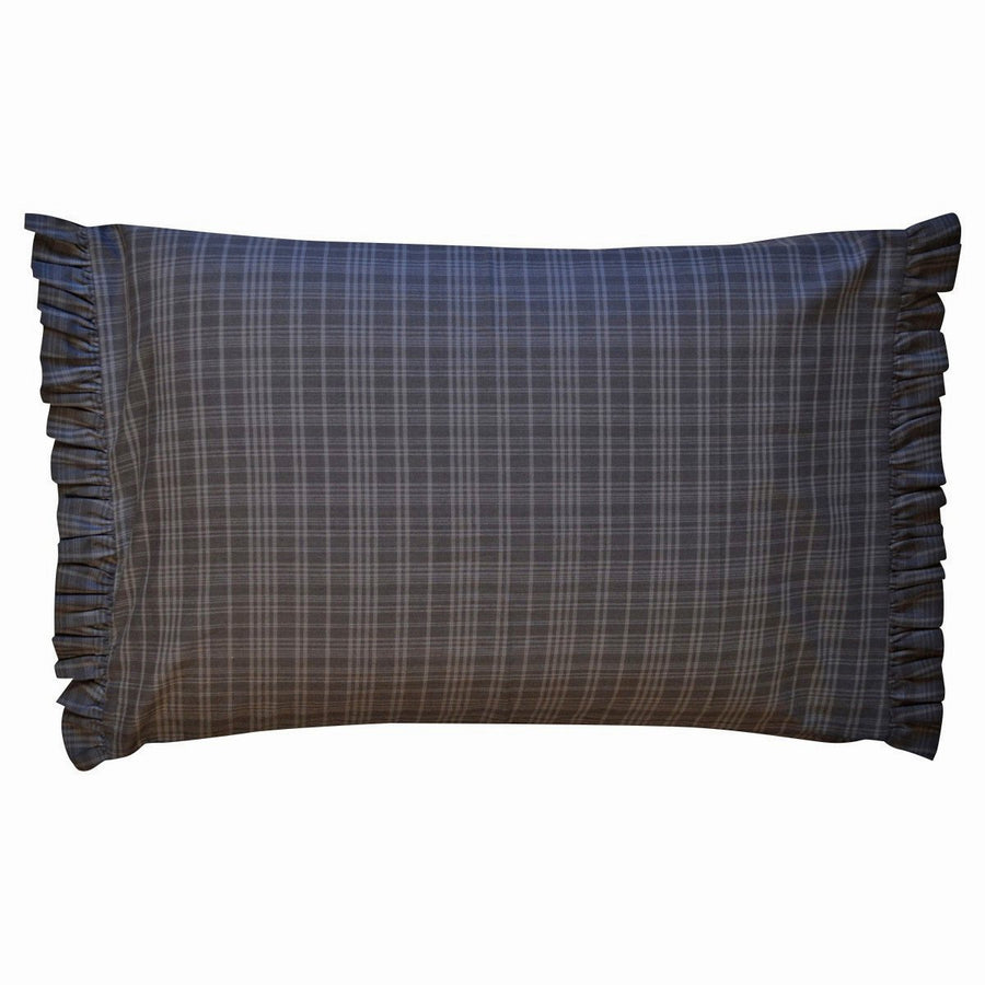 Indigo Plaid Ruffled Pillow Case Set