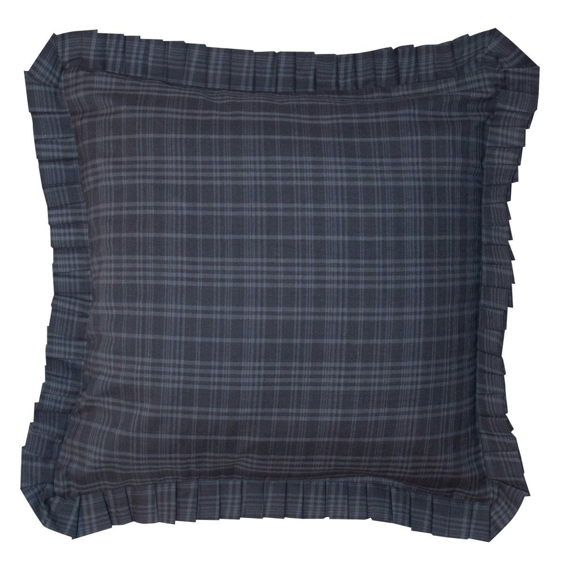 Indigo Plaid Ruffled Toss Pillow