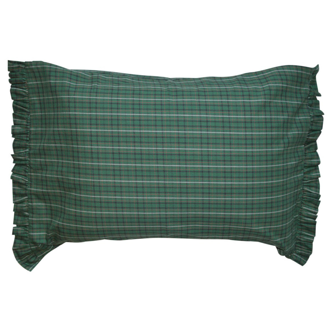 Irish Plaid Ruffled Pillow Case Set
