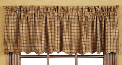 Millsboro Scalloped Plaid Valance - Retro Barn Country Linens - 1