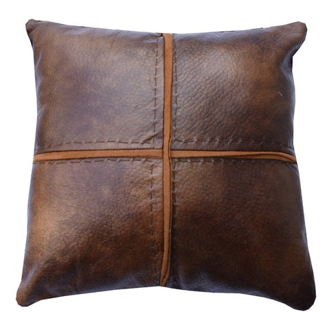 Faux Leather Cross Stitched Pillow - Retro Barn Country Linens