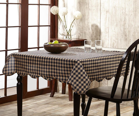 Navy Check Round Tablecloth - Retro Barn Country Linens - 2