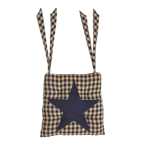Navy Star Chair Pad - Retro Barn Country Linens