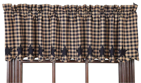 Navy Star Valance - Retro Barn Country Linens - 1