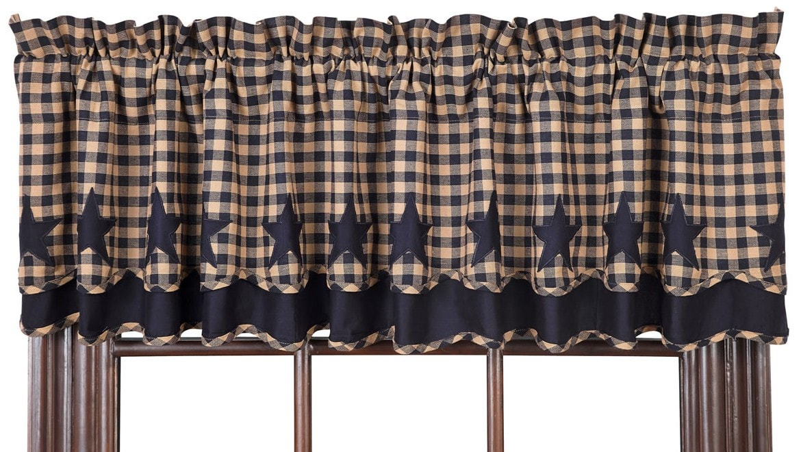 Navy Star Layered Valance Retro Barn Country Linens