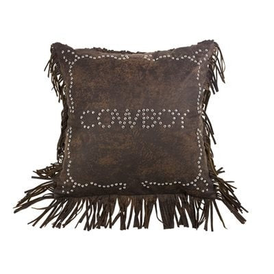 Cowboy Studded Pillow - Retro Barn Country Linens - 1