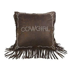 Cowgirl Studded Pillow - Retro Barn Country Linens - 1