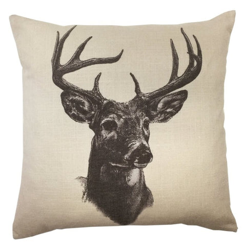 Whitetail Deer Linen Print Pillow - Retro Barn Country Linens