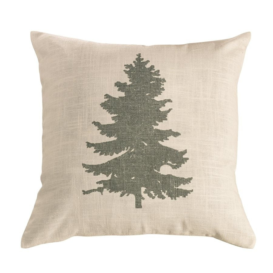 Green Pine Tree on Linen Pillow