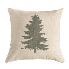 Green Pine Tree on Linen Pillow - Retro Barn Country Linens