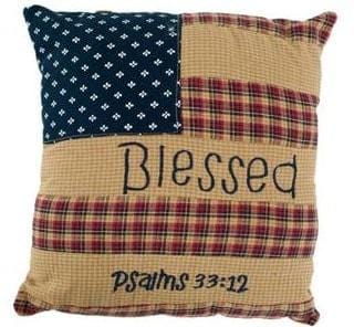 Patriotic Patch Blessed Pillow - Retro Barn Country Linens