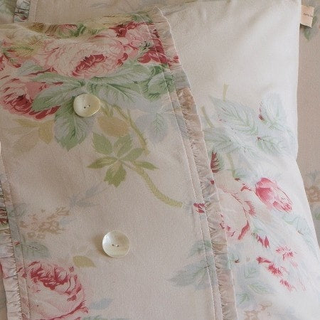 Pink Shore Rose Porch Pillow - Retro Barn Country Linens - 2
