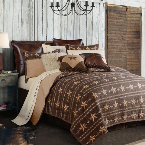 Star Ranch Quilt Set - Retro Barn Country Linens - 2