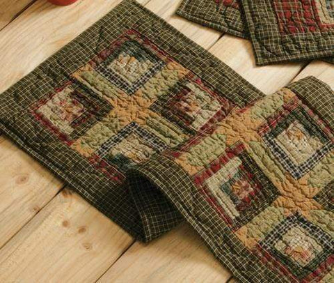 Tea Cabin Quilted Runner - Retro Barn Country Linens - 1