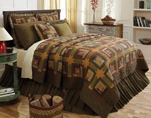 Tea Cabin Quilt - Retro Barn Country Linens - 1