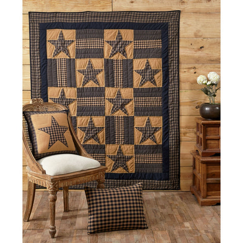 Teton Star Quilted Throw / Wallhanging - Retro Barn Country Linens - 1